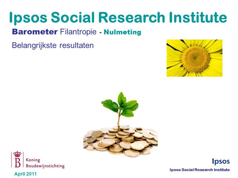 © 2011 Ipsos Barometer Filantropie– Nulmeting - April 2011 2 Algemeen kader en doelstellingen 10 mei 2011: 2 de Dag van de Filantropie Uitvoering van een onderzoek over filantropie bij de Belgisch bevolking van 18 jaar en ouder Eerste meting van de Barometer Filantropie Eerste meting voor de ontwikkeling van een filantropie-index in België
