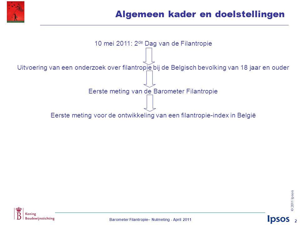 © 2011 Ipsos Barometer Filantropie– Nulmeting - April 2011 2 Algemeen kader en doelstellingen 10 mei 2011: 2 de Dag van de Filantropie Uitvoering van