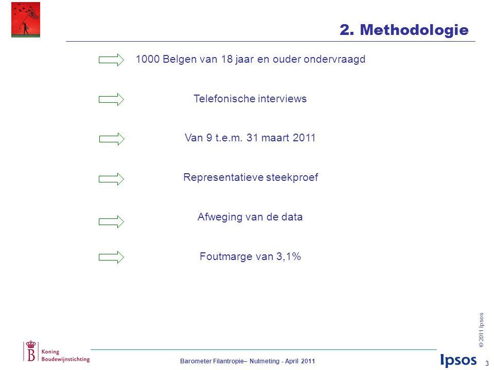 © 2011 Ipsos Barometer Filantropie– Nulmeting - April 2011 4 Voornaamste uitkomsten