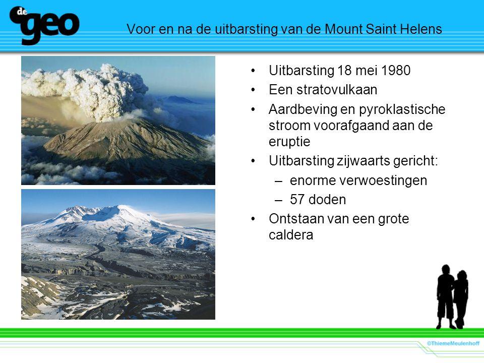 Voor en na de uitbarsting van de Mount Saint Helens Uitbarsting 18 mei 1980 Een stratovulkaan Aardbeving en pyroklastische stroom voorafgaand aan de e