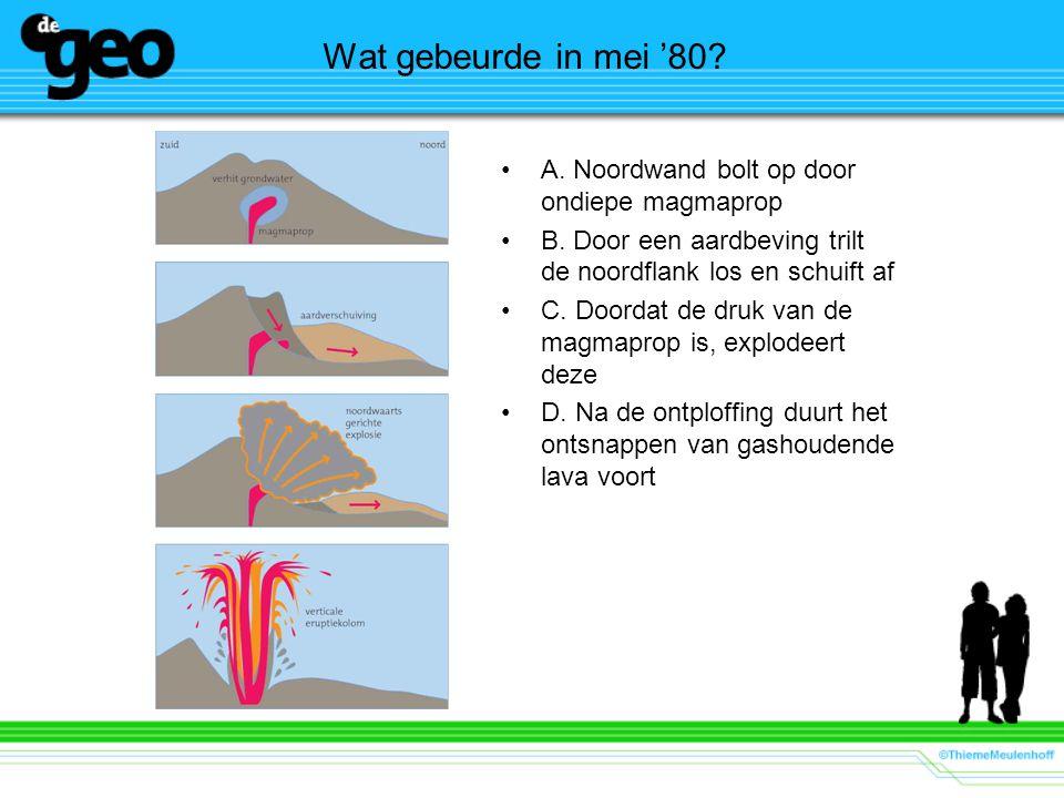 Wat gebeurde in mei '80? A. Noordwand bolt op door ondiepe magmaprop B. Door een aardbeving trilt de noordflank los en schuift af C. Doordat de druk v