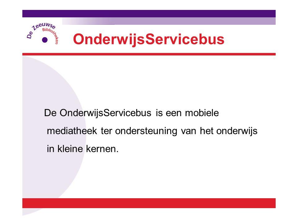 De OnderwijsServicebus is een mobiele mediatheek ter ondersteuning van het onderwijs in kleine kernen.