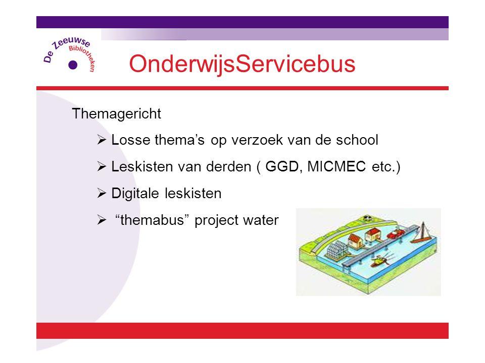 OnderwijsServicebus Themagericht  Losse thema's op verzoek van de school  Leskisten van derden ( GGD, MICMEC etc.)  Digitale leskisten  themabus project water