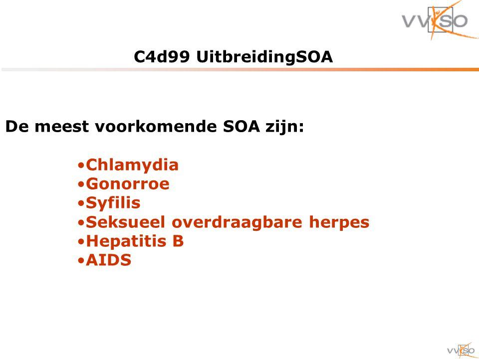 C4d99 UitbreidingSOA De meest voorkomende SOA zijn: Chlamydia Gonorroe Syfilis Seksueel overdraagbare herpes Hepatitis B AIDS