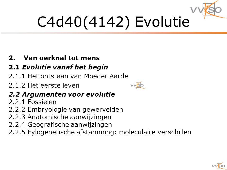 2.Van oerknal tot mens 2.1 Evolutie vanaf het begin 2.1.1 Het ontstaan van Moeder Aarde 2.1.2 Het eerste leven 2.2 Argumenten voor evolutie 2.2.1 Fossielen 2.2.2 Embryologie van gewervelden 2.2.3 Anatomische aanwijzingen 2.2.4 Geografische aanwijzingen 2.2.5 Fylogenetische afstamming: moleculaire verschillen C4d40(4142) Evolutie