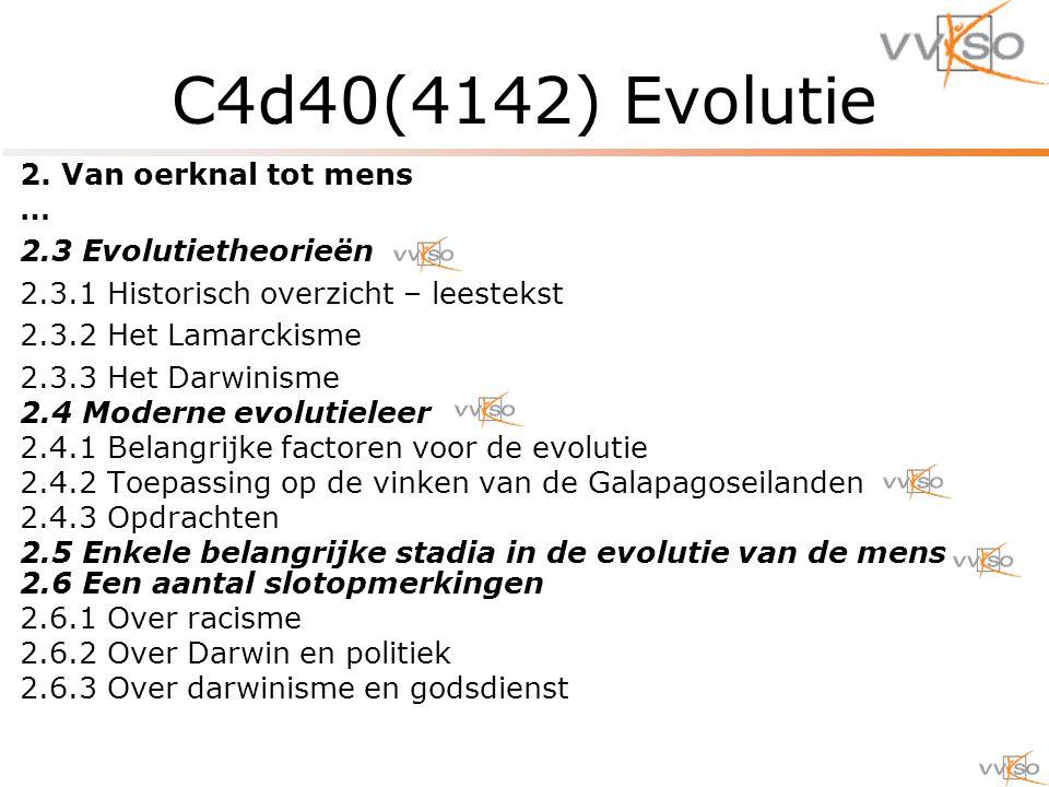 2. Van oerknal tot mens … 2.3 Evolutietheorieën 2.3.1 Historisch overzicht – leestekst 2.3.2 Het Lamarckisme 2.3.3 Het Darwinisme 2.4 Moderne evolutie