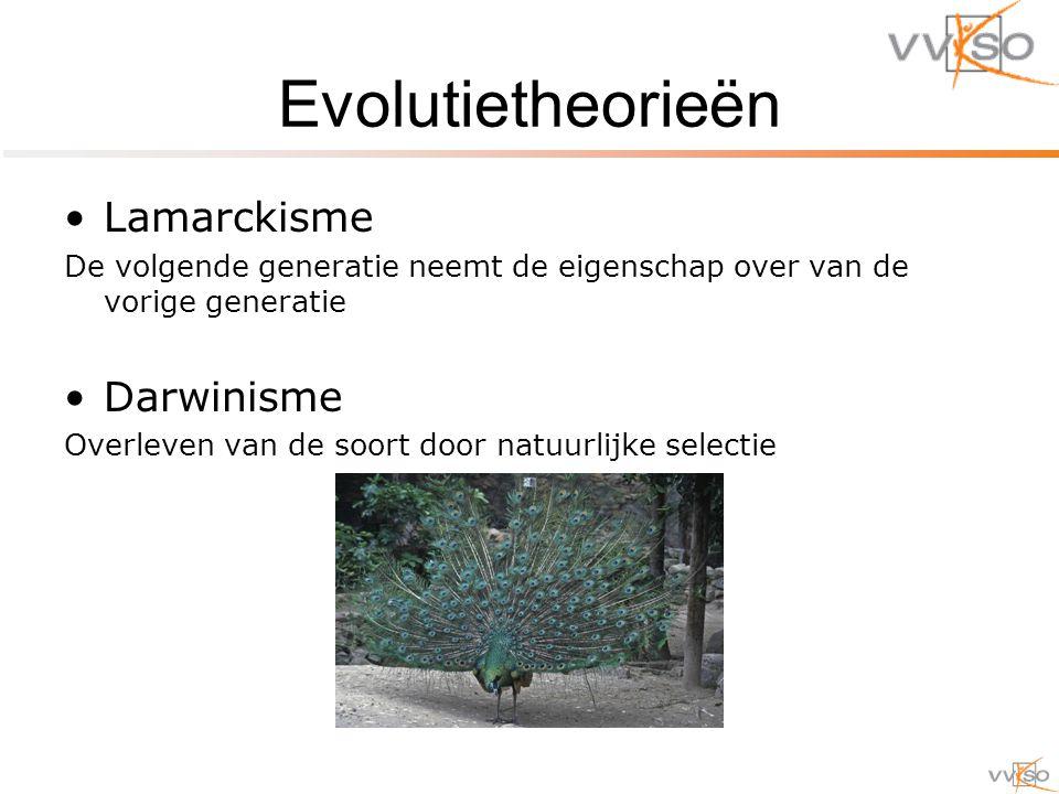 Evolutietheorieën Lamarckisme De volgende generatie neemt de eigenschap over van de vorige generatie Darwinisme Overleven van de soort door natuurlijke selectie