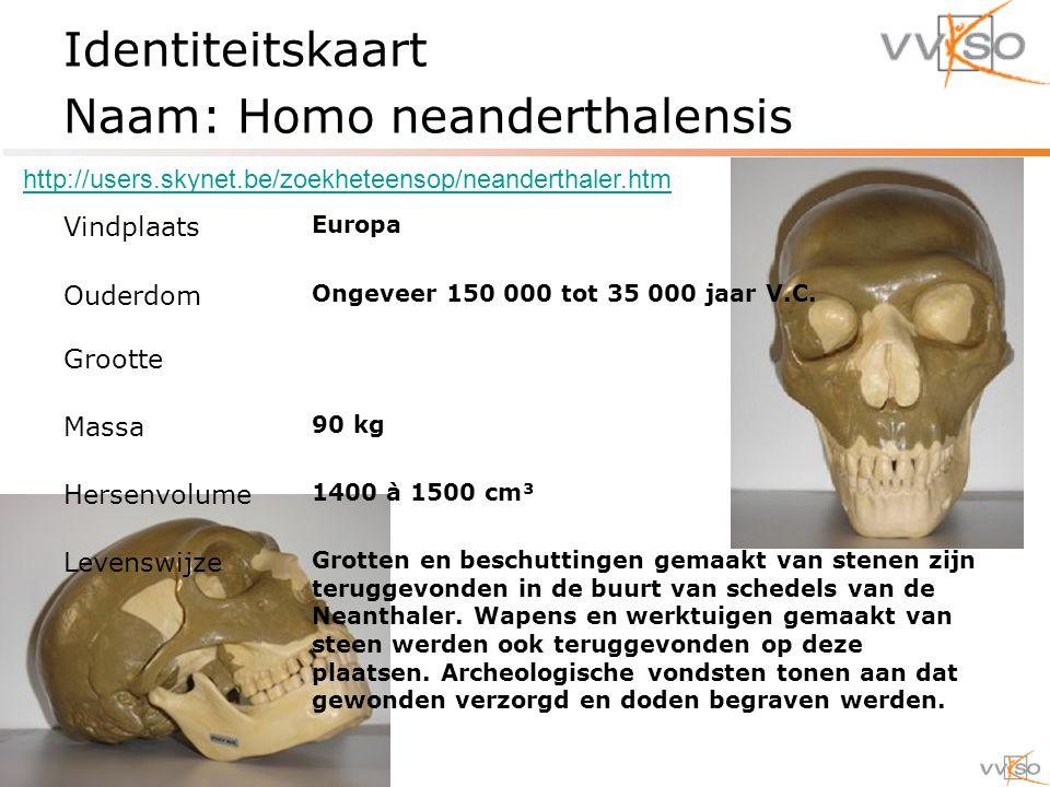 Identiteitskaart Naam: Homo neanderthalensis Vindplaats Europa Ouderdom Ongeveer 150 000 tot 35 000 jaar V.C.