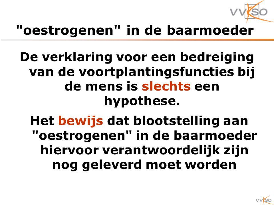 oestrogenen in de baarmoeder De verklaring voor een bedreiging van de voortplantingsfuncties bij de mens is slechts een hypothese.