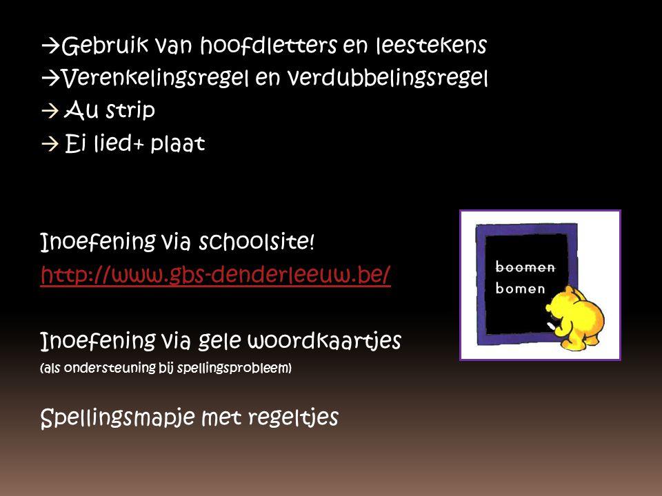  Gebruik van hoofdletters en leestekens  Verenkelingsregel en verdubbelingsregel  Au strip  Ei lied+ plaat Inoefening via schoolsite! http://www.g