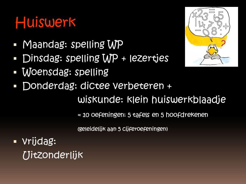 Huiswerk  Maandag: spelling WP  Dinsdag: spelling WP + lezertjes  Woensdag: spelling  Donderdag: dictee verbeteren + wiskunde: klein huiswerkblaad