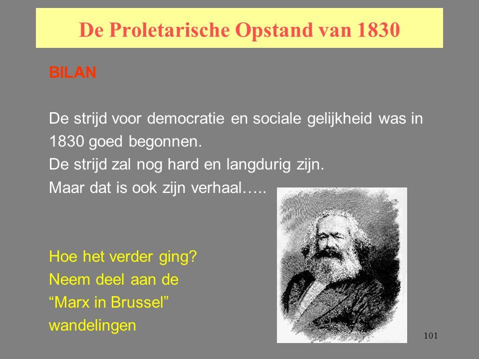 101 De Proletarische Opstand van 1830 BILAN De strijd voor democratie en sociale gelijkheid was in 1830 goed begonnen.