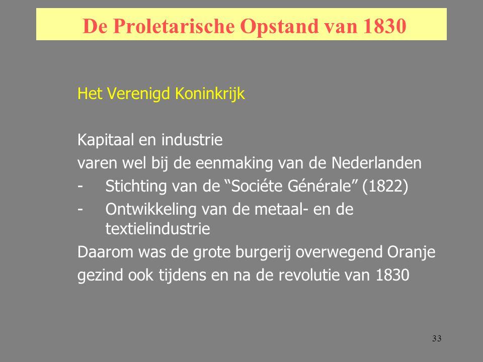 33 De Proletarische Opstand van 1830 Het Verenigd Koninkrijk Kapitaal en industrie varen wel bij de eenmaking van de Nederlanden -Stichting van de Sociéte Générale (1822) -Ontwikkeling van de metaal- en de textielindustrie Daarom was de grote burgerij overwegend Oranje gezind ook tijdens en na de revolutie van 1830