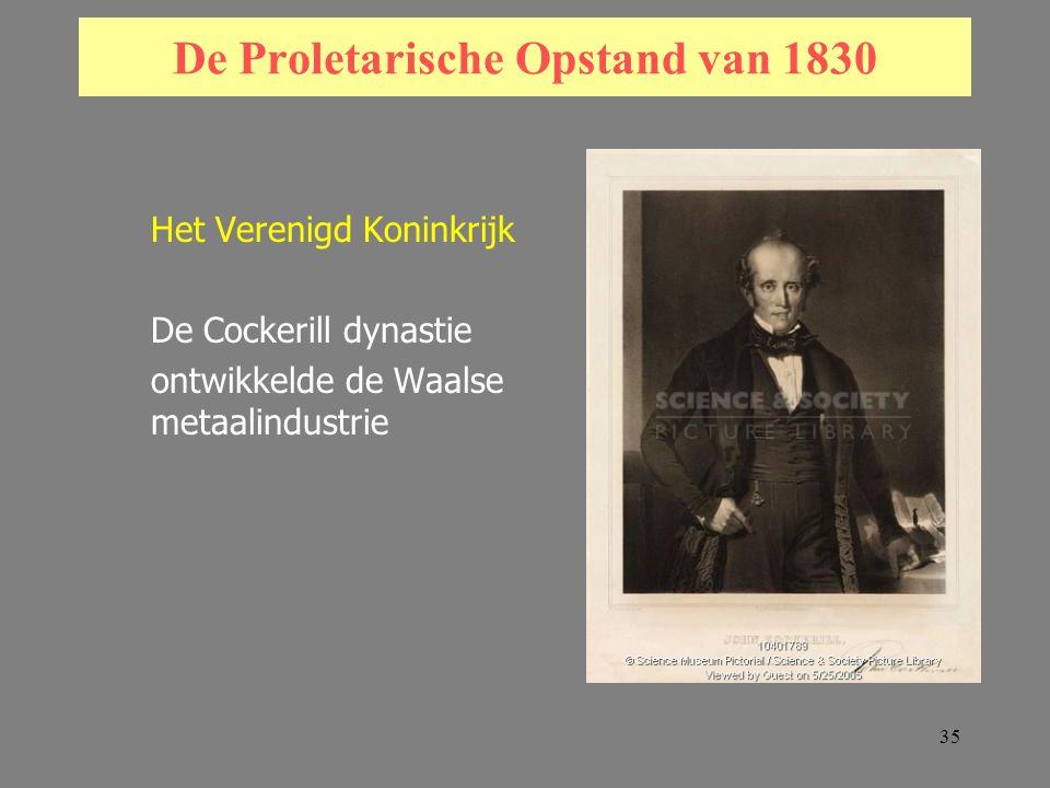 35 De Proletarische Opstand van 1830 Het Verenigd Koninkrijk De Cockerill dynastie ontwikkelde de Waalse metaalindustrie