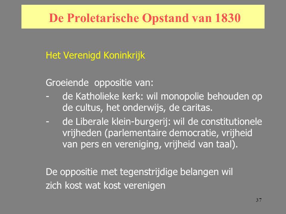 37 De Proletarische Opstand van 1830 Het Verenigd Koninkrijk Groeiende oppositie van: -de Katholieke kerk: wil monopolie behouden op de cultus, het onderwijs, de caritas.