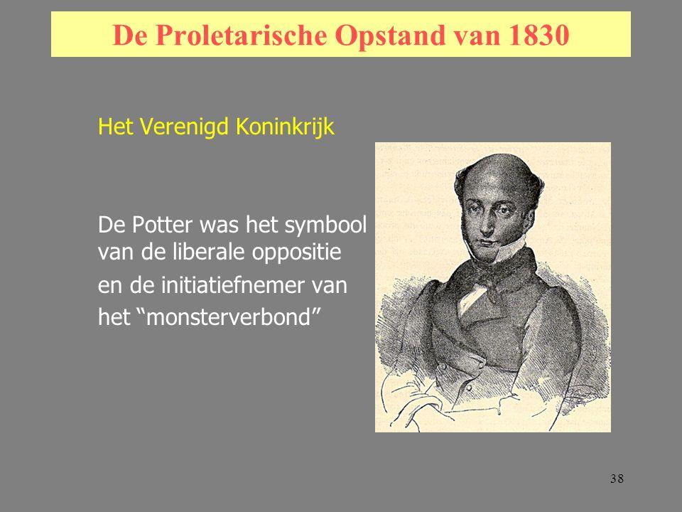 38 De Proletarische Opstand van 1830 Het Verenigd Koninkrijk De Potter was het symbool van de liberale oppositie en de initiatiefnemer van het monsterverbond