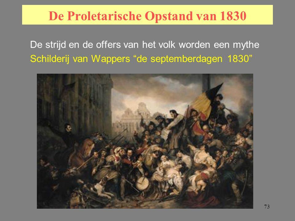 73 De Proletarische Opstand van 1830 De strijd en de offers van het volk worden een mythe Schilderij van Wappers de septemberdagen 1830