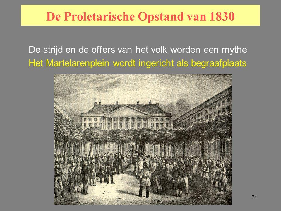 74 De Proletarische Opstand van 1830 De strijd en de offers van het volk worden een mythe Het Martelarenplein wordt ingericht als begraafplaats