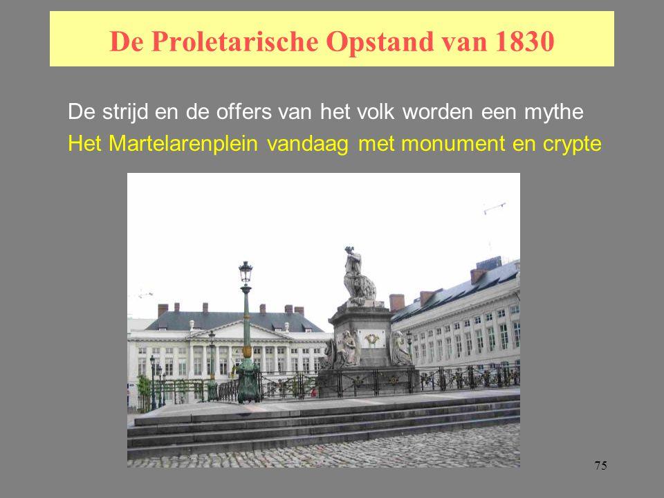 75 De Proletarische Opstand van 1830 De strijd en de offers van het volk worden een mythe Het Martelarenplein vandaag met monument en crypte