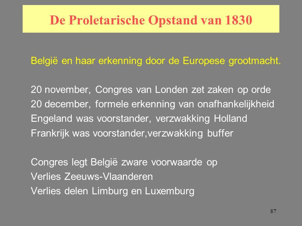 87 De Proletarische Opstand van 1830 België en haar erkenning door de Europese grootmacht.