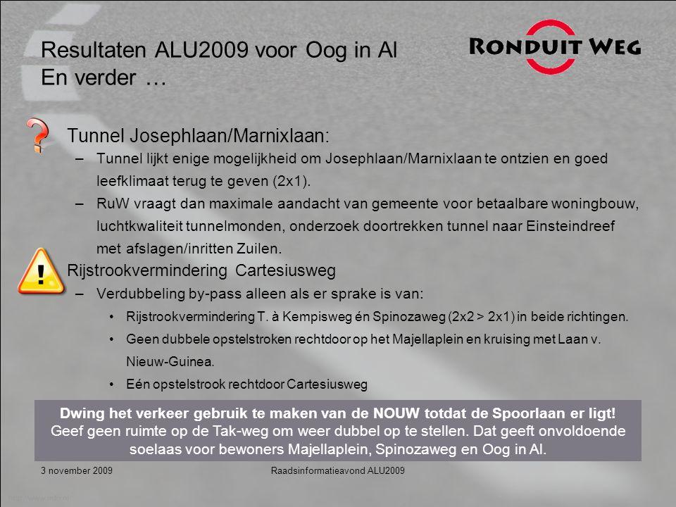 3 november 2009Raadsinformatieavond ALU2009 Resultaten ALU2009 voor Oog in Al En verder … Tunnel Josephlaan/Marnixlaan: –Tunnel lijkt enige mogelijkheid om Josephlaan/Marnixlaan te ontzien en goed leefklimaat terug te geven (2x1).