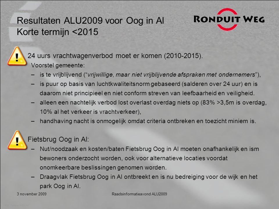 3 november 2009Raadsinformatieavond ALU2009 Resultaten ALU2009 voor Oog in Al Korte termijn <2015 24 uurs vrachtwagenverbod moet er komen (2010-2015).