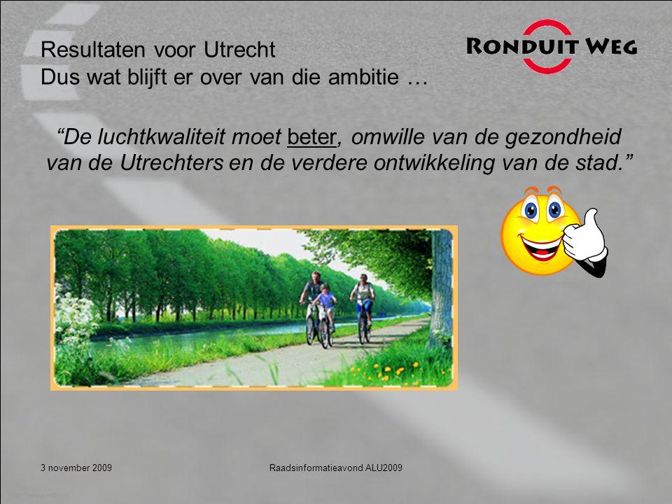 3 november 2009Raadsinformatieavond ALU2009 Resultaten voor Utrecht Dus wat blijft er over van die ambitie … De luchtkwaliteit moet beter, omwille van de gezondheid van de Utrechters en de verdere ontwikkeling van de stad.