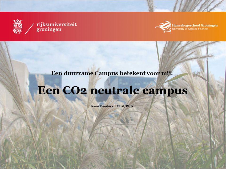 Een duurzame Campus betekent voor mij: Een CO2 neutrale campus René Benders, IVEM/RUG