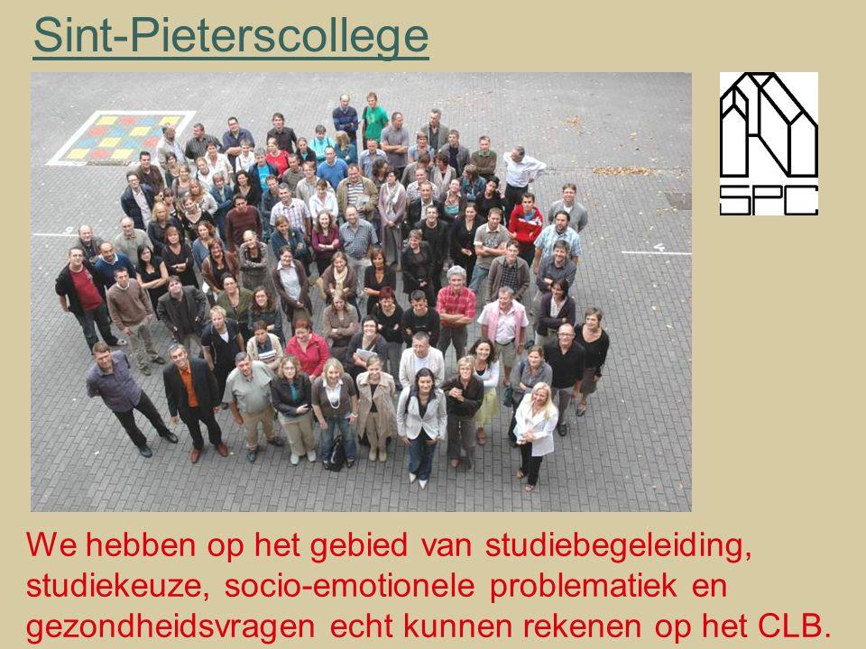 Sint-Pieterscollege We hebben op het gebied van studiebegeleiding, studiekeuze, socio-emotionele problematiek en gezondheidsvragen echt kunnen rekenen op het CLB.