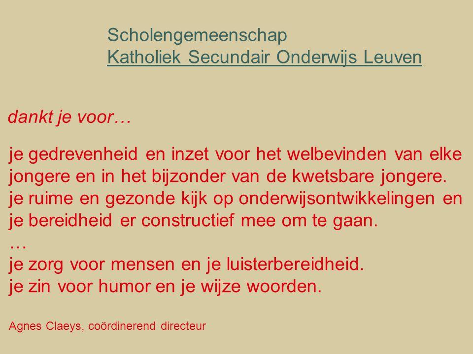 Scholengemeenschap Katholiek Secundair Onderwijs Leuven je gedrevenheid en inzet voor het welbevinden van elke jongere en in het bijzonder van de kwetsbare jongere.