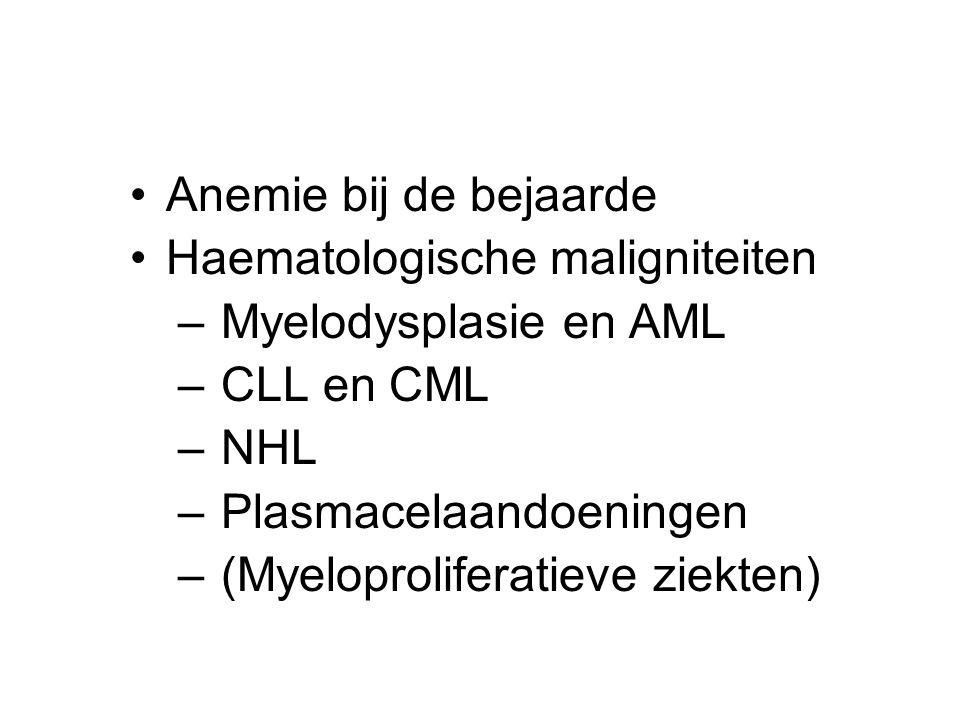 Anemie bij de bejaarde Haematologische maligniteiten – Myelodysplasie en AML – CLL en CML – NHL – Plasmacelaandoeningen – (Myeloproliferatieve ziekten)