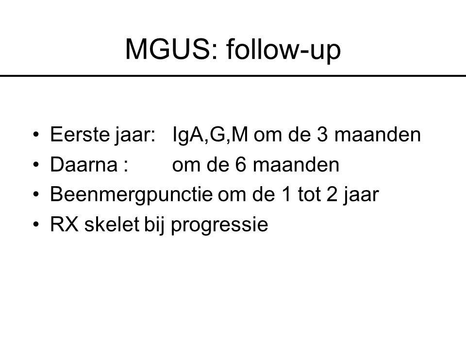 MGUS: follow-up Eerste jaar:IgA,G,M om de 3 maanden Daarna : om de 6 maanden Beenmergpunctie om de 1 tot 2 jaar RX skelet bij progressie