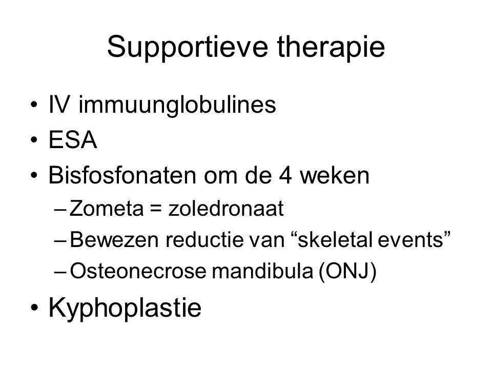 Supportieve therapie IV immuunglobulines ESA Bisfosfonaten om de 4 weken –Zometa = zoledronaat –Bewezen reductie van skeletal events –Osteonecrose mandibula (ONJ) Kyphoplastie
