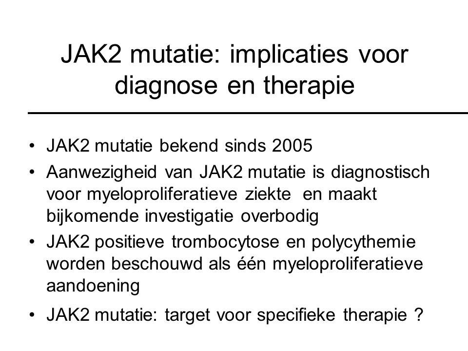 JAK2 mutatie: implicaties voor diagnose en therapie JAK2 mutatie bekend sinds 2005 Aanwezigheid van JAK2 mutatie is diagnostisch voor myeloproliferatieve ziekte en maakt bijkomende investigatie overbodig JAK2 positieve trombocytose en polycythemie worden beschouwd als één myeloproliferatieve aandoening JAK2 mutatie: target voor specifieke therapie ?