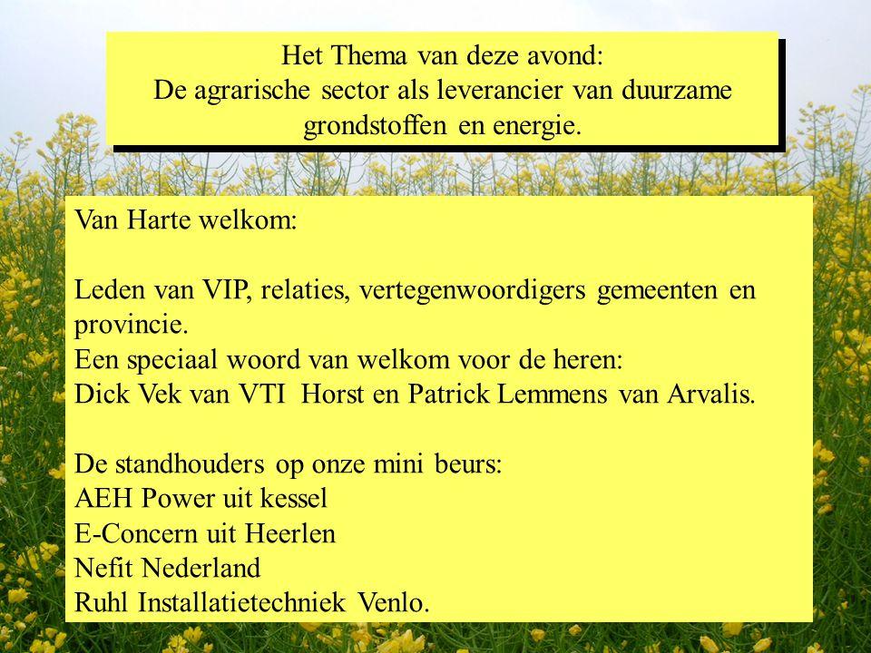 Het Thema van deze avond: De agrarische sector als leverancier van duurzame grondstoffen en energie. Het Thema van deze avond: De agrarische sector al