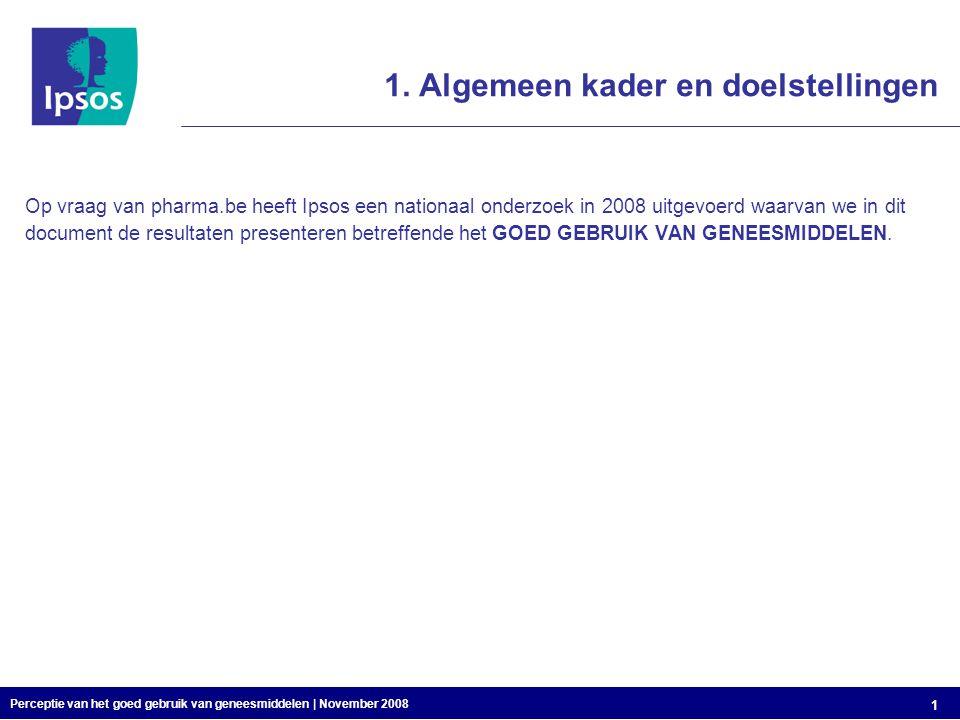 Perceptie van het goed gebruik van geneesmiddelen | November 2008 1 1.