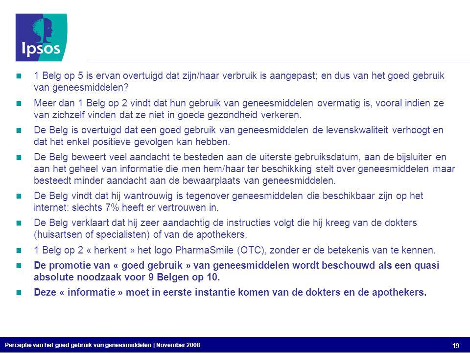 Perceptie van het goed gebruik van geneesmiddelen | November 2008 19 1 Belg op 5 is ervan overtuigd dat zijn/haar verbruik is aangepast; en dus van het goed gebruik van geneesmiddelen.