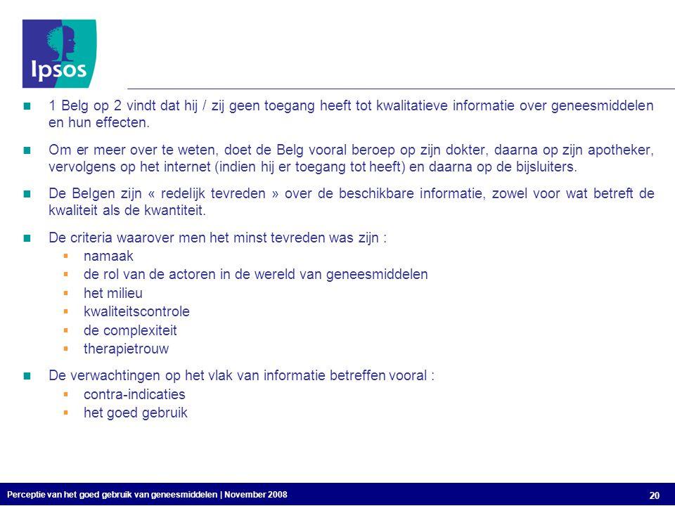 Perceptie van het goed gebruik van geneesmiddelen | November 2008 20 1 Belg op 2 vindt dat hij / zij geen toegang heeft tot kwalitatieve informatie over geneesmiddelen en hun effecten.