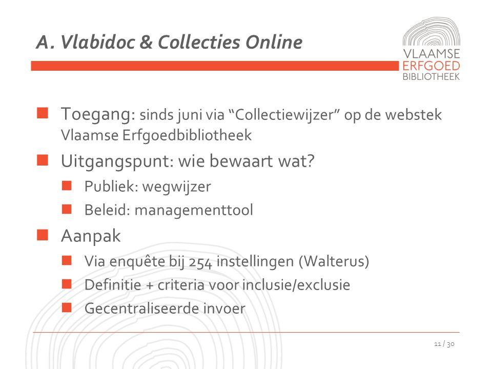 """A. Vlabidoc & Collecties Online Toegang: sinds juni via """"Collectiewijzer"""" op de webstek Vlaamse Erfgoedbibliotheek Uitgangspunt: wie bewaart wat? Publ"""