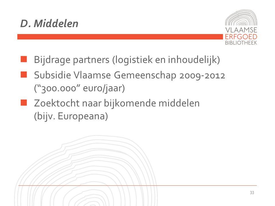 """D. Middelen Bijdrage partners (logistiek en inhoudelijk) Subsidie Vlaamse Gemeenschap 2009-2012 (""""300.000"""" euro/jaar) Zoektocht naar bijkomende middel"""