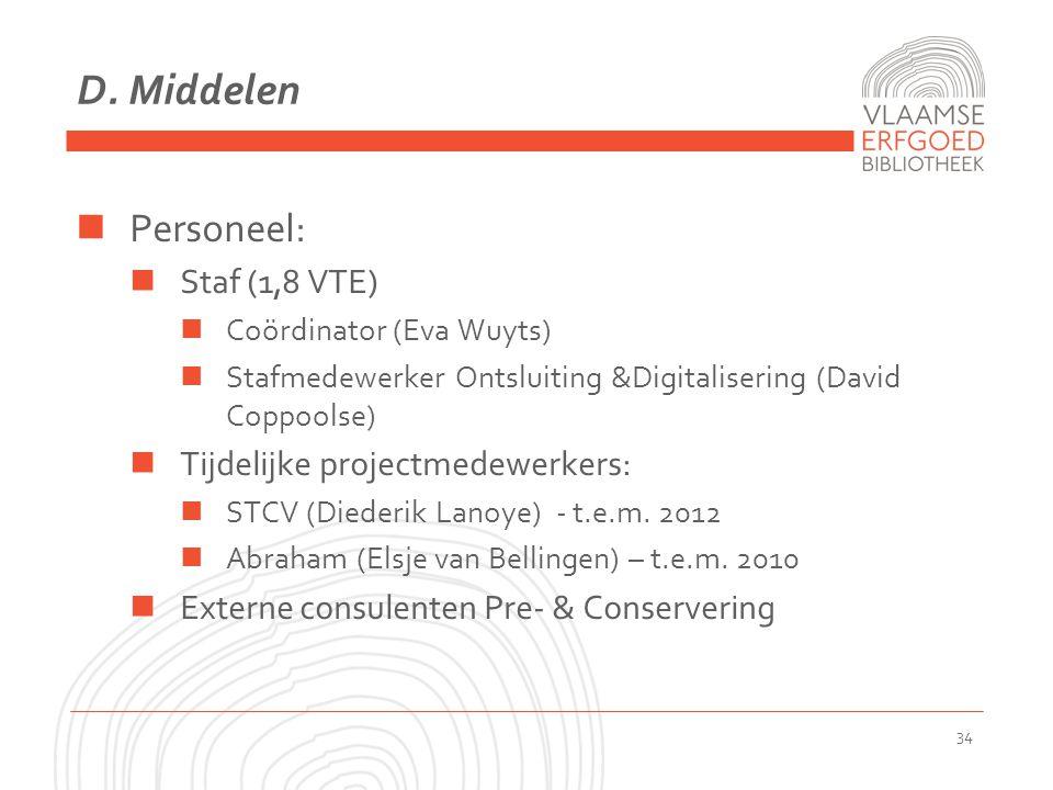 D. Middelen Personeel: Staf (1,8 VTE) Coördinator (Eva Wuyts) Stafmedewerker Ontsluiting &Digitalisering (David Coppoolse) Tijdelijke projectmedewerke
