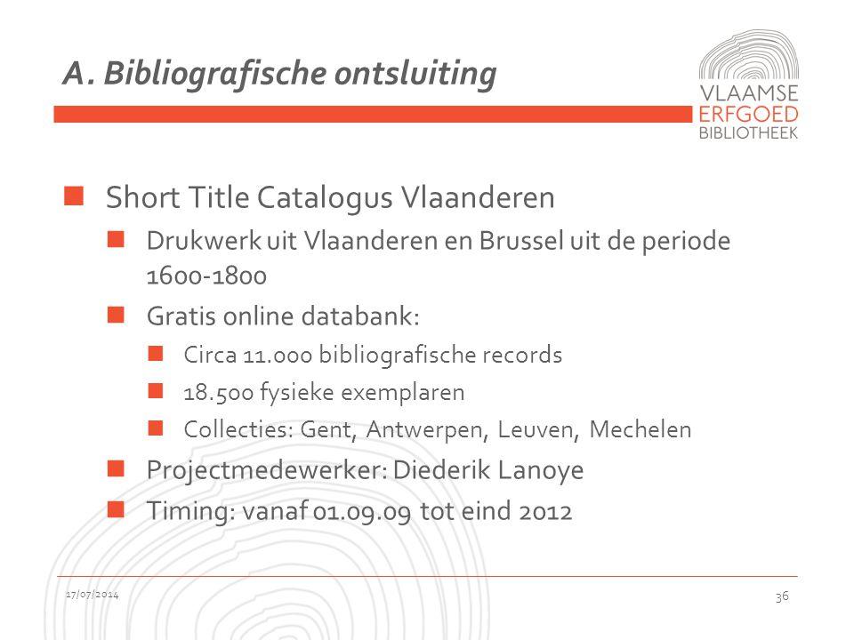 A. Bibliografische ontsluiting Short Title Catalogus Vlaanderen Drukwerk uit Vlaanderen en Brussel uit de periode 1600-1800 Gratis online databank: Ci