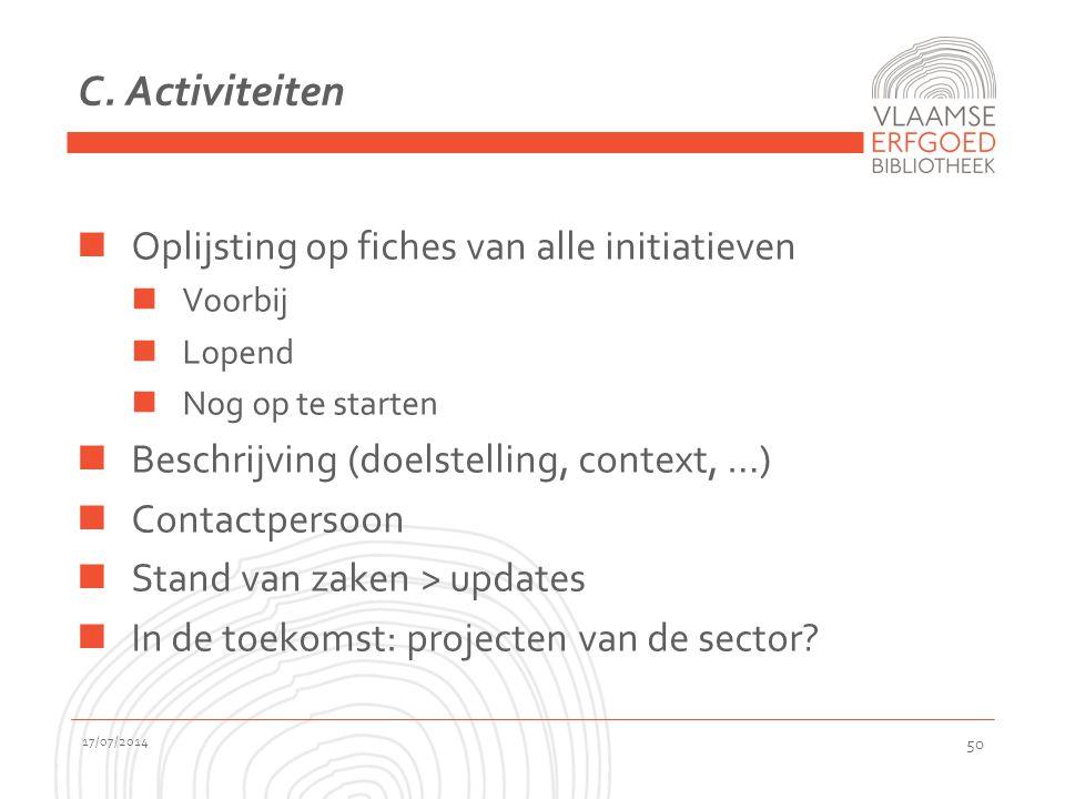 C. Activiteiten Oplijsting op fiches van alle initiatieven Voorbij Lopend Nog op te starten Beschrijving (doelstelling, context, …) Contactpersoon Sta