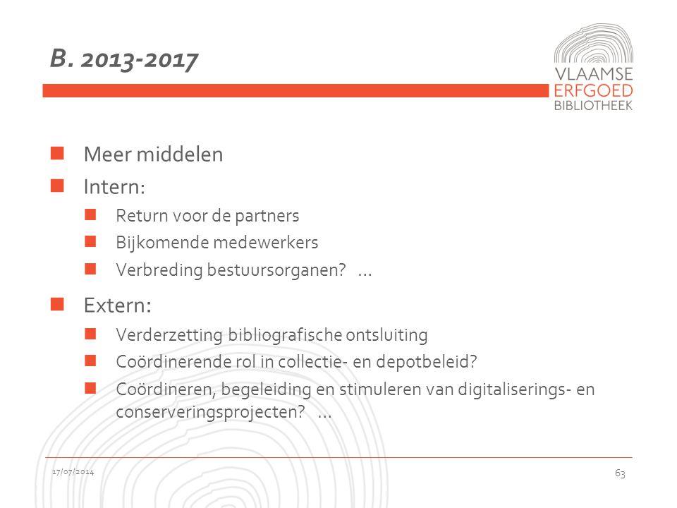 B. 2013-2017 Meer middelen Intern: Return voor de partners Bijkomende medewerkers Verbreding bestuursorganen? … Extern : Verderzetting bibliografische