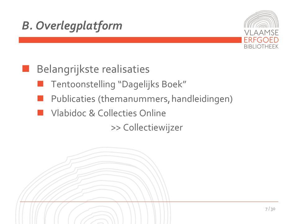"""B. Overlegplatform Belangrijkste realisaties Tentoonstelling """"Dagelijks Boek"""" Publicaties (themanummers, handleidingen) Vlabidoc & Collecties Online >"""
