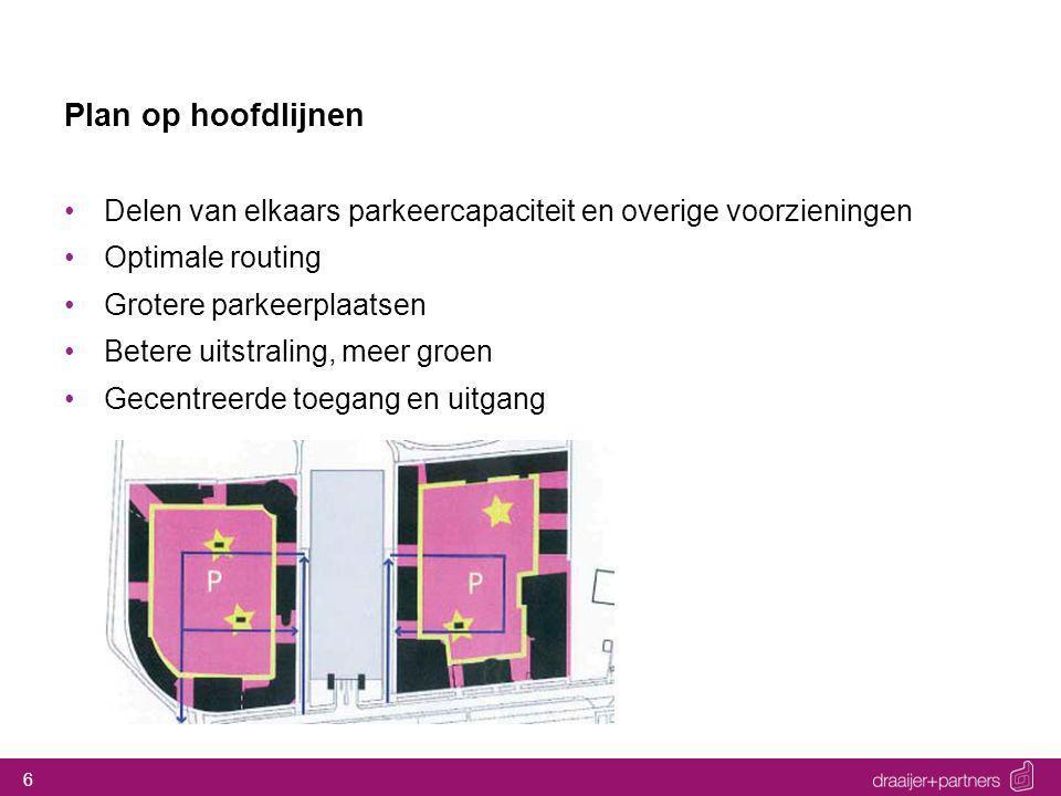 6 Plan op hoofdlijnen Delen van elkaars parkeercapaciteit en overige voorzieningen Optimale routing Grotere parkeerplaatsen Betere uitstraling, meer groen Gecentreerde toegang en uitgang