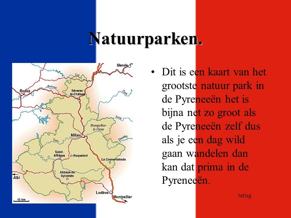 Natuurparken. Dit is een kaart van het grootste natuur park in de Pyreneeën het is bijna net zo groot als de Pyreneeën zelf dus als je een dag wild ga