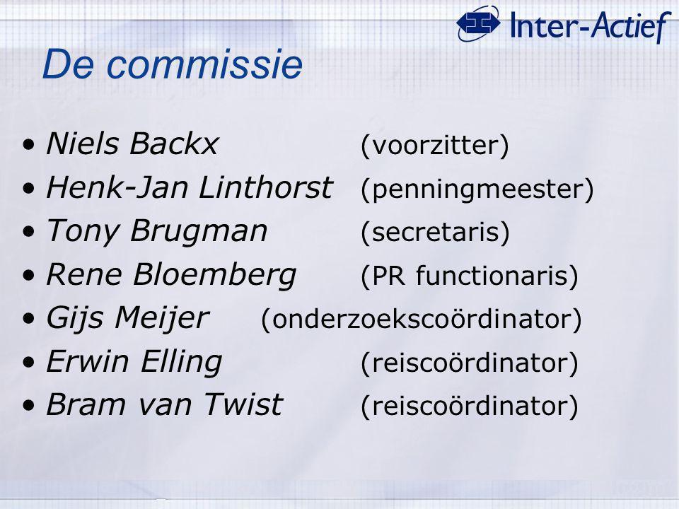 De commissie Niels Backx (voorzitter) Henk-Jan Linthorst (penningmeester) Tony Brugman (secretaris) Rene Bloemberg (PR functionaris) Gijs Meijer (onde