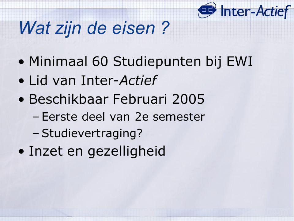 Wat zijn de eisen ? Minimaal 60 Studiepunten bij EWI Lid van Inter-Actief Beschikbaar Februari 2005 –Eerste deel van 2e semester –Studievertraging? In