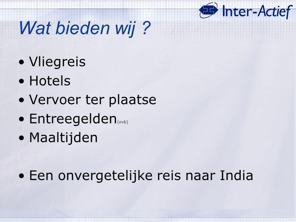 Wat bieden wij ? Vliegreis Hotels Vervoer ter plaatse Entreegelden (ovb) Maaltijden Een onvergetelijke reis naar India